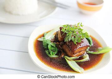 braisé, porc, style, japonaise, ventre