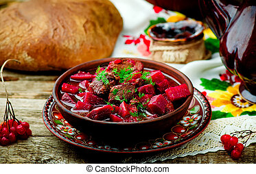 braised beef with beet. dish of traditional Ukrainian ...