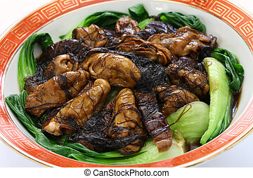 braised dried oysters with black moss (ho see fat choy ) , ...