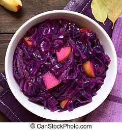 Braised Red Cabbage - Braised red cabbage with apple in bowl...