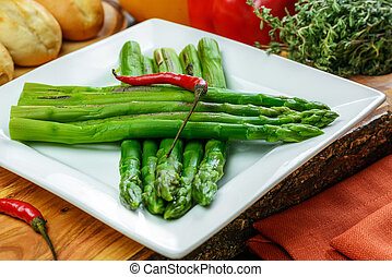 Braised spicy asparagus