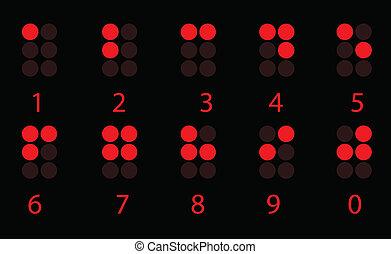 brajl, komplet, liczba, czerwony, cyfrowy