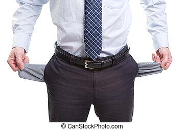 brak, en, arm, zakenmens , met, lege zakken