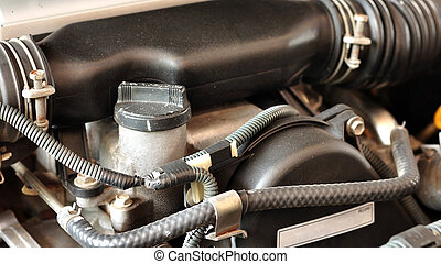 Brake and gear fluid bottle in engine room, maintenance.