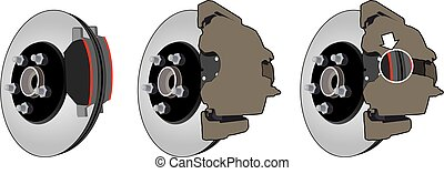 Brake Assembly - Three views of a brake assembly