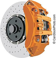 Brake disc caliper on a white background