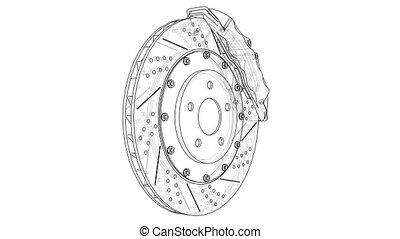 Brake disc outline. 3D illustration video. White background
