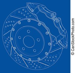 Brake disc outline. Vector rendering of 3d