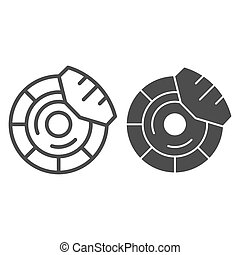 Brake discs line and glyph icon. Brake shoe vector illustration isolated on white. Car part outline style design, designed for web and app. Eps 10.