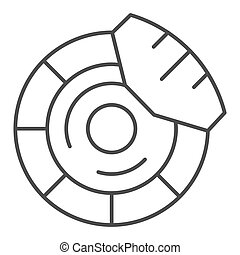 Brake discs thin line icon. Brake shoe vector illustration isolated on white. Car part outline style design, designed for web and app. Eps 10.