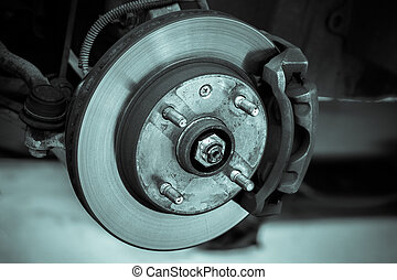 brake disk and detail of the wheel hub - black and white...
