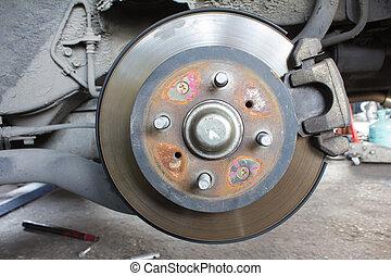 brake drum - Close up brake drum wait for change new wheel