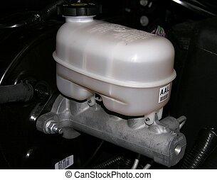 Brake Master Cylinder and Reservoir on a motor vehicle