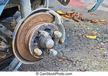 brake old rusted disc brake and caliper on car
