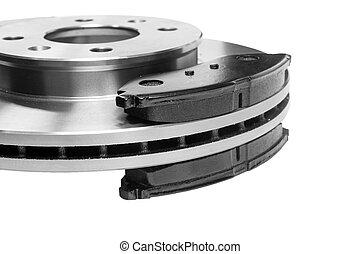 brake pads - Brake pads adjacent to the brake disc