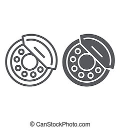 Brake pads line and glyph icon, auto and part, brake shoe sign, vector graphics, a linear pattern on a white background.