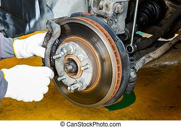 Brake repairing in garage