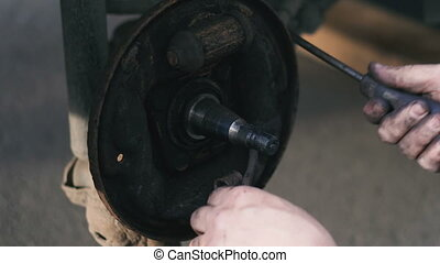 Brake shoe. Car brake system repair
