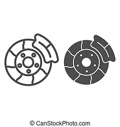 Brake shoe line and glyph icon. Automobile disc vector illustration isolated on white. Car part outline style design, designed for web and app. Eps 10.