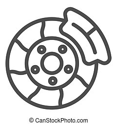 Brake shoe line icon. Automobile disc vector illustration isolated on white. Car part outline style design, designed for web and app. Eps 10.
