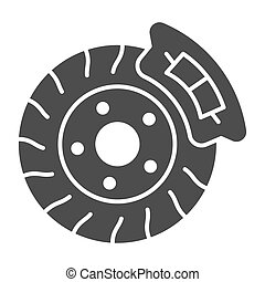 Brake shoe solid icon. Disk brake vector illustration isolated on white. Auto disk brake glyph style design, designed for web and app. Eps 10.