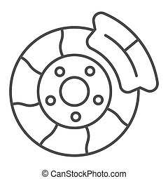 Brake shoe thin line icon. Automobile disc vector illustration isolated on white. Car part outline style design, designed for web and app. Eps 10.