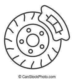 Brake shoe thin line icon. Disk brake vector illustration isolated on white. Auto disk brake outline style design, designed for web and app. Eps 10.