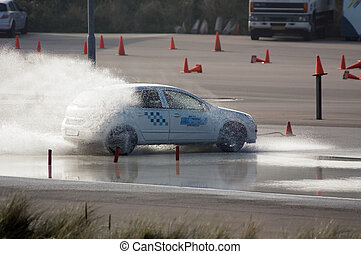 brake training - car brake training in wet conditions