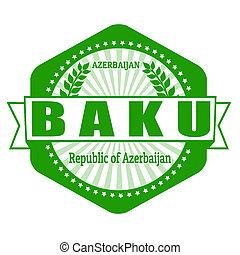 Braku capital of Azerbaijan label or stamp