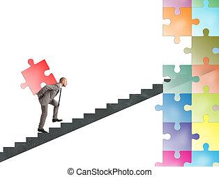 brakujący, zagadka, budować, biznesmen, nowy, kawał, towarzystwo