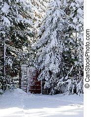 brama, drewno, śnieg