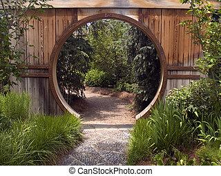 brama, japoński ogród