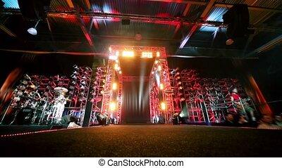 brama, od, metal, zbudowania, z, oświetlenie, gitarzysta, i,...