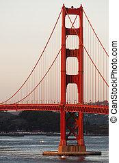 brama złotego most, na, zachód słońca