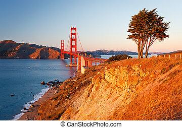 brama złotego most, na, zachód słońca, san francisco