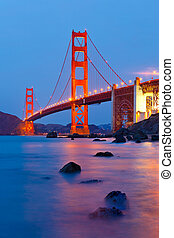 brama złotego most, po, zachód słońca, san francisco