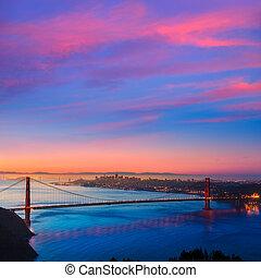 brama złotego most, san francisco, wschód słońca, kalifornia
