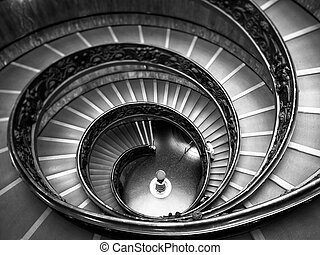 Bramante Staircase black and white, exit stairs from Vatican...