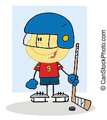 bramkarz, grając hokej, chłopiec