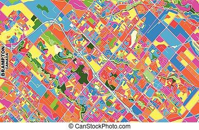 Brampton, Ontario, Canada, colorful vector map