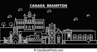 brampton, silhouette, skyline., canada, -, brampton,...