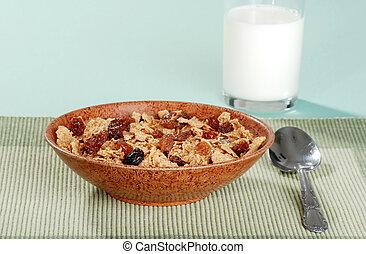 bran and raisin cereal brown bowl