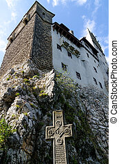 Bran Castle near Brasov, Romania - Tourists' approach to...