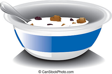 Illustration of a nearly empty bowl of bran and raisin cereal.