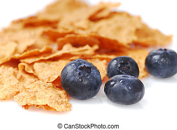 Bran cereal with blueberries