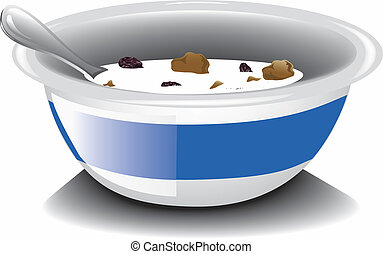 Bran Flakes - Illustration of a nearly empty bowl of bran...