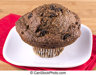 Fresh baked Bran muffin with raisins