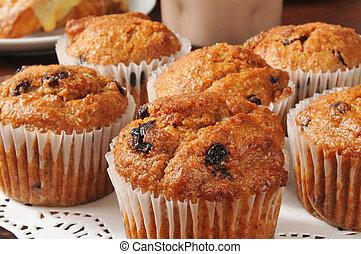 Closeup of bran muffins with raisins