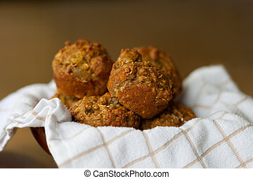 Closeup of fresh homemade bran muffins