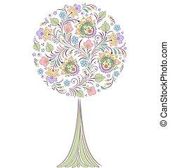 branca, árvore, coloridos, fundo